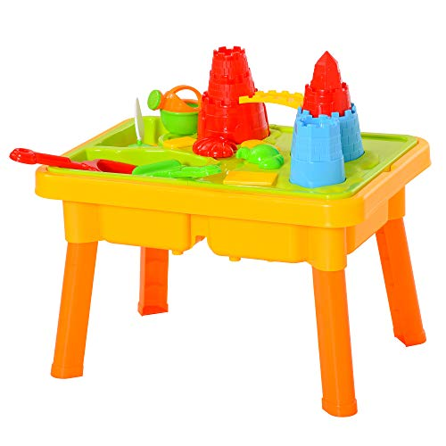 homcom Sabbiera per Bambini Tavolo da Gioco Sensoriale con 2 Vani Separati per Acqua e Sabbia, 23 Pezzi, 59x42x37cm