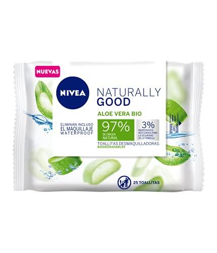 NIVEA Naturally Good Toallitas Desmaquilladoras Biodegradables (25 ud.), desmaquillante facial con un 97% de ingredientes de origen natural, toallitas refrescantes