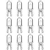 Jaenmsa 12 bombillas halógenas G9 para lámparas 220 V 40 W regulable cápsula transparente 2800 K 360 ° blanco cálido para cocinas, hornos, iluminación de cocinas