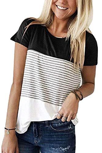 Tuopuda T-Shirt Donna Striscia Tee Camicetta Donna Casual Maglietta Manica Maniche Corta Top Girocollo Splicing Camicia Estate
