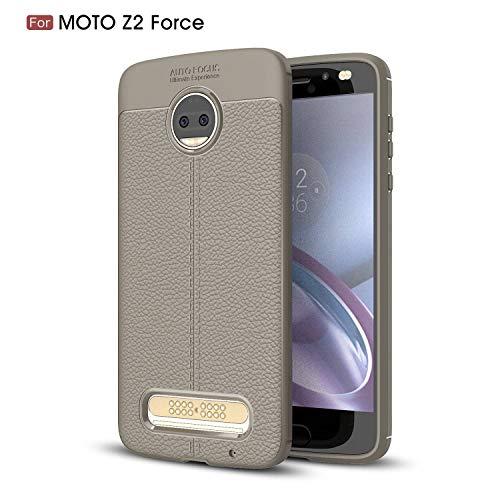 Ycloud Silikon TPU Schutzhülle für Motorola Moto Z2 Force Weich Ultra Dünn Hülle Stoßfest Anti-rutsch Back Cover Litschi Textur Grau Tasche für Motorola Moto Z2 Force
