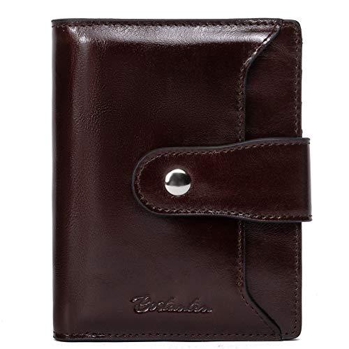 BOSTANTEN Women Leather Wallet RFID Blocking Small Bifold Zipper Pocket Wallet Card Case Purse with ID Window Coffee