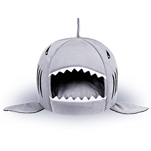 Ibluelover 2-in-1-Kissen, Sofa, Bett für Hunde, Katzen, Nest, warm, für Hunde und Katzen, Schlafsack, in Hai-Form, Hundehütte, Welpen, für Haustiere, Geschenk, Weihnachten
