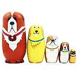 Catkoo 5 Pz/Set Simpatico Cartone Animato Cane Bambole Russe di Incastramento Matrioska Giocattolo Fatto A Mano in Legno, Addestramento Perfetto Regali di Intelligenza per Bambini