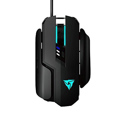 ThunderX3 TM55 - Ratón gaming mecánico profesional (sensor óptico, conmutador Omron, 7200 DPI, iluminación HEX RGB, panel lateral intercambiable) color negro