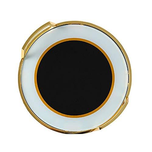 YzDnF Bandeja otomana decoración Bandeja de Cristal Redonda de Metal Templado con manijas de café Dinner Party Tea Gran Pieza Central & Idea Regalo (Color : Gold, Size : 37x37cm)