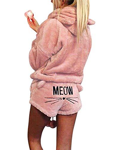 Damen Warmer Winter Gesetzte Zweiteilige Nette Katzen Pyjamas Hoodie Nachtwäsche mit Kapuze Hosenanzug Schlafanzug Jumpsuit Hell-Pink M