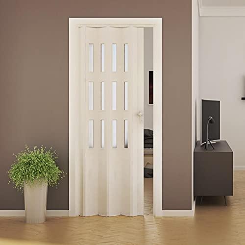 Porta a Soffietto da Interno 88,5x214 cm in PVC con Vetro Saba Jasmine Bianca