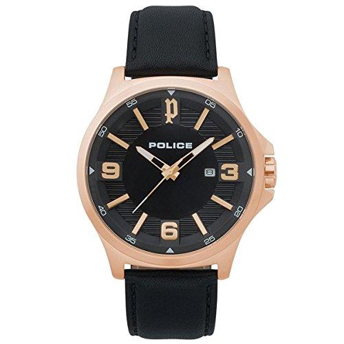 Police Herren Chronograph Quarz Uhr mit Leder Armband PL.15384JSR/02