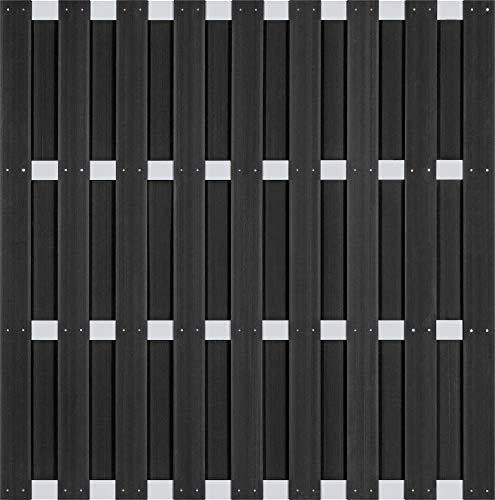 Holzwelt Gräf Exklusiv Sichtschutz Jumbo WPC Zaun Ibiza Gartenzaun Lamellenzaun mit silbernen Alu-Querriegeln und WPC-Lamellen anthrazit (5 Zäune 180x180cm + 6 Alupfosten = 9,48m Länge)