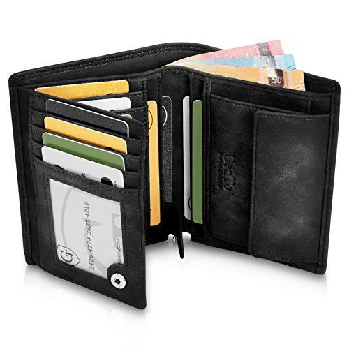 GenTo® Dublin Geldbörse mit Münzfach - TÜV geprüfter RFID, NFC Schutz - geräumiges Portemonnaie - Geldbeutel für Herren und Damen - Portmonaise inkl. Geschenkbox (Schwarz - Soft)