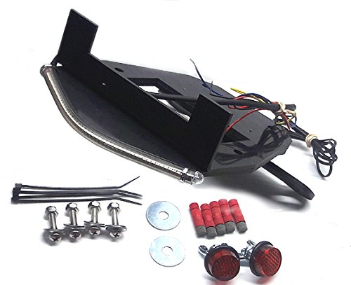 Tucked LED Light Bar Fender Eliminator Kit with LED Flasher Relay for Honda Grom MSX125 (2017+) - Integrated Brake and Turn Signals, Smoked Lens