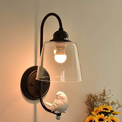 Moderne minimalistische wandlamp nachtkastje Aisle Creative Glas Vogel wandlamp Modern (kleur: Zwart)