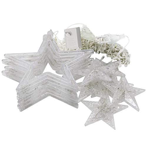 Yangeryang Luces De Cadena De Estrellas, 8-Modo Colorido 10 Estrellas Estilo Luz Navidad Decorativo Carámbanos Tira Luz, Enchufe De La UE