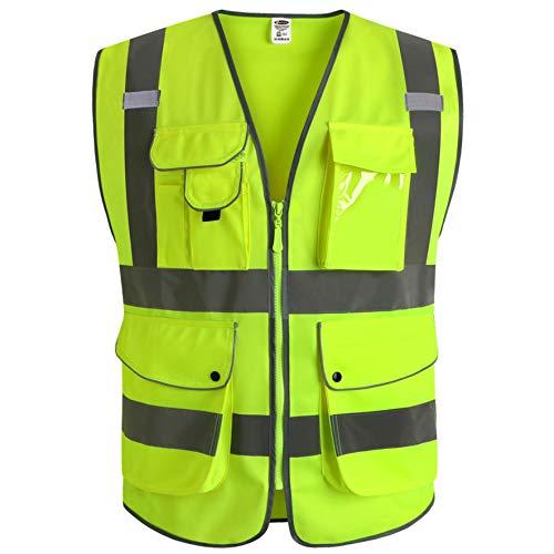 JKSafety Neun Taschen Unisex Hohe Sichtbarkeit Warnweste Reflektierende Weste Reißverschluss EN ISO 20471 Gelb (4X-Large) …