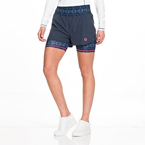 GregsterPro Damen Fitness Shorts Rue, Dunkelblau Bedruckt, M, 12905