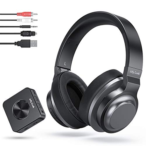 Jelly Comb Auriculares Bluetooth Inalámbricos Estéreo Recargables con Adaptador Bluetooth Transmisor y Receptor 2-en-1 (Digital Optical Aux RCA Pc USB) para TV/PC/Teléfono/iPad