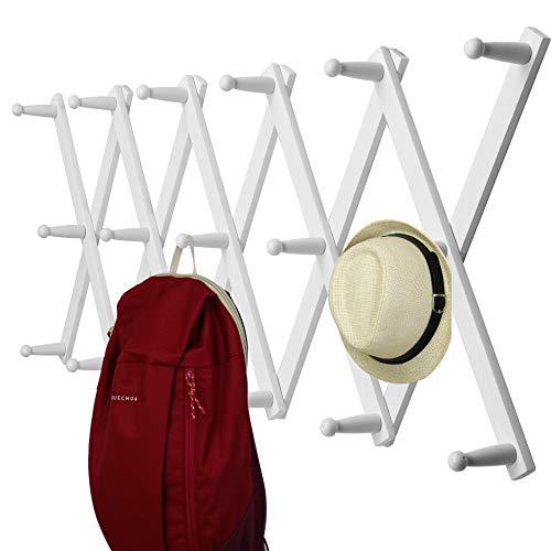 WEBI Accordian Wall HangerExpandable Wooden Coat RackHat Rack for WallAccordion Wall Rack for HatsCapsCoffee Mugs17 Peg HooksWhite