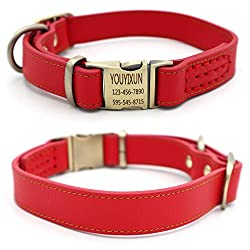 Youyixun Personalized Dog Collar, Customize Engraved Dog Collar with Name and Phone Number, Adjustable Genuine Leather Dog ID Collar