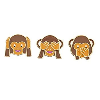 LUX ACCESSORIES Three Wise Monkeys Emoji Kitschy Pin Brooch Set  3PCS