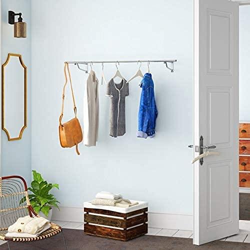 Estante de pared cromado para colgar ropa en la tienda (6 pies)