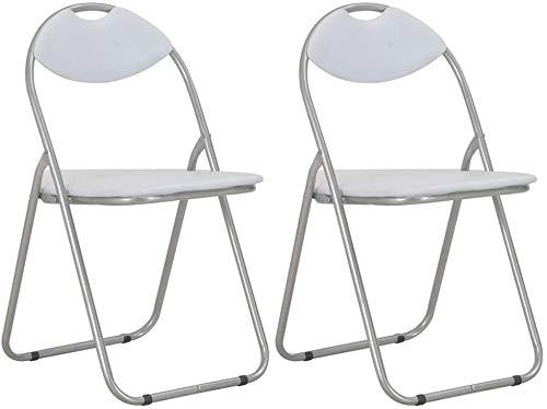 Autoshoppingcenter Conjunto de 2 sillas de Comedor Cocina Plegables Comodas Acero Cuero Sintético, Blanco y Plateado/Negro y Plateado 44 x 43 x 80,5 cm [EU Stock]