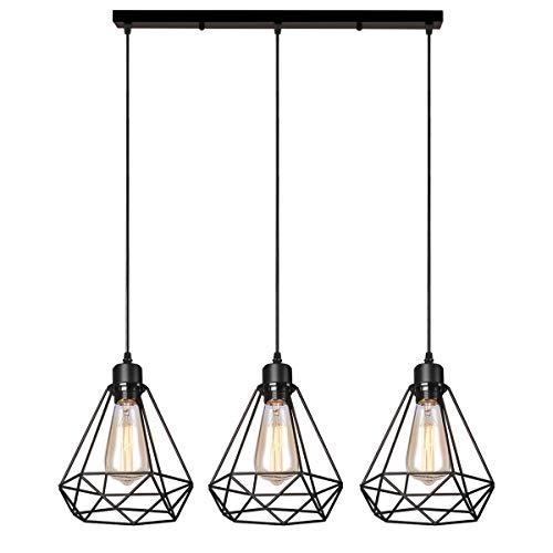 iDEGU Industrielle Pendelleuchte, 3 flammige Vintage Pendellampe Retro Metall Hängelampe Geometrischen Käfig Design E27 Lampe Lampenschirme, Ø 20cm, Schwarz