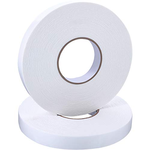 2 Rolls Double Sided Foam Tape White PE Foam Tape Sponge Soft Mounting Adhesive Tape (1 inch by 50 Feet)