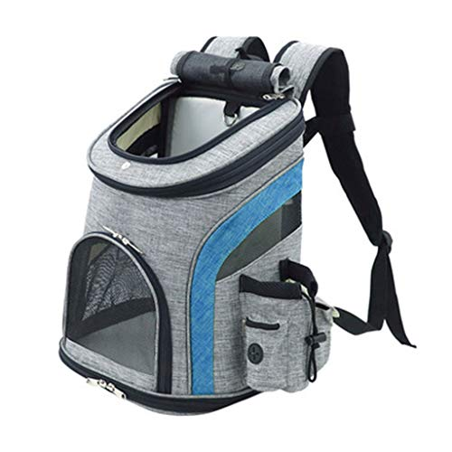 Azanaz Mochila para Mascotas Impermeable Superior Abierto Respirable Plegable Portátil Alfombra de vellón extraíble Transportin Perros Gato para Viajes de Camping al Aire Libre de hasta 5 kg,Azul,M