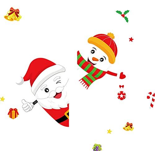 HUYHUY Bricolaje Santa Muñeco De Nieve Feliz Navidad Pegatina De Pared Para Ventana/Puerta De Cristal Decoración Del Hogar Calcomanías Murales Papel Tapiz Pegatinas De Bienvenida