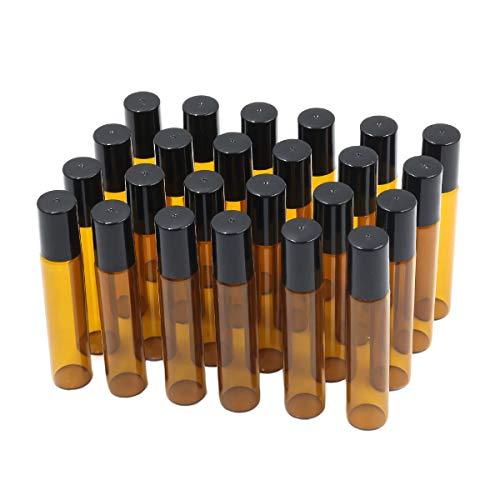 Ulable Leere Glas-Rollflaschen mit Edelstahl-Rollkugeln für ätherische Öle, Aromatherapie und Duft, Braun (24 Stück, 10ml)
