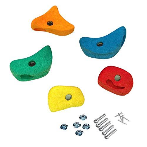 5 Stück h2i Klettersteine Klettergriffe für Kletterwand - mittel - 11,0 x 11,0 cm für Kinder und Erwachsene