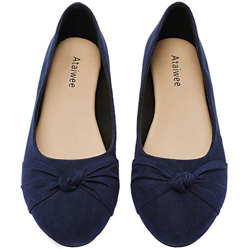 Ataiwee Women's Ballet Flats - Round Toe Bow Cute Classic Flat Shoes.(2007006-2,BL/MF,10.5 M)