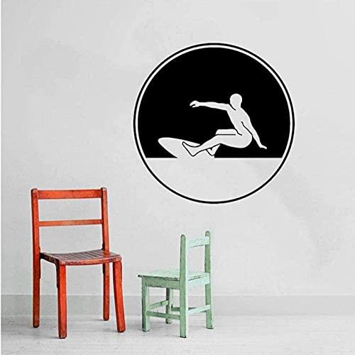 ZZQQQ Etiqueta engomada de la Pared calcomanía Mural 48X48Cm Deportes Extremos Tabla de Surf Pegatina Decorativa de Pared PVC Sala de Estar Dormitorio Piscina