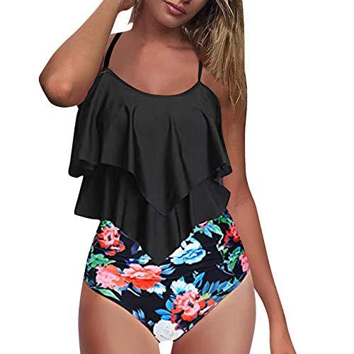 Conjunto de bikini de mujer de cintura alta Sling traje de baño Top Ruffle dos piezas traje de baño sexy estampado floral cintura alta traje de baño largo volantes dobladillo