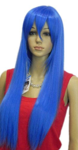 Qiyun Raide Longue Bleu Resistant a la Chaleur Fibre Synthetique Cheveux Complete Cosplay Anime Costume Perruque