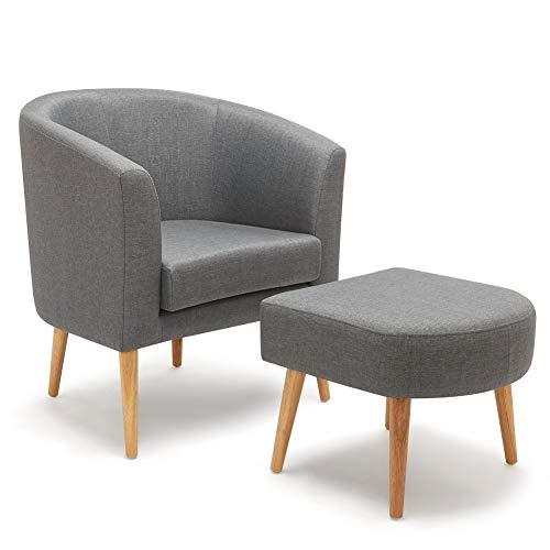 Meerveil Sessel mit Hocker, Ohrensessel moderner Stoff Relaxsessel Fernsehsessel geeignet für Wohnzimmer Schlafzimmer und Büro (Dunkelgrau)