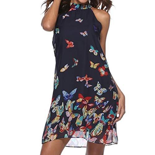 sunnymi® - Vestido de mujer de gasa, estampado de mariposas, cuello redondo, sin mangas marine 38 EU