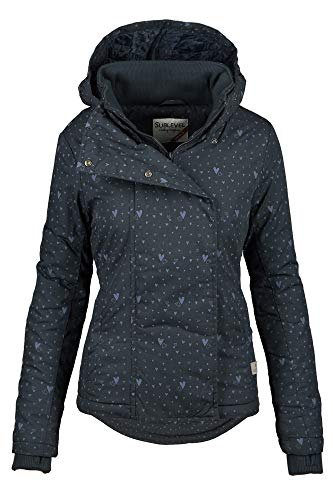 Sublevel Damen Herbst Übergangsjacke Winter warme Jacke Winterjacke Outdoor B167 (Gr.L/Gr.42, Navy-Herz)