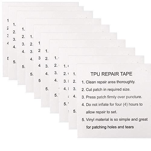10 piezas de cinta transparente de reparación de carpas, parches adhesivos de reparación para mochilas / toldos / tiendas de campaña / chaquetas de exterior y colchones inflables