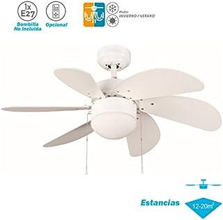 ELS Ventilador Techo Modelo Tabit Blanco Motor AC 6 Palas 1xE27