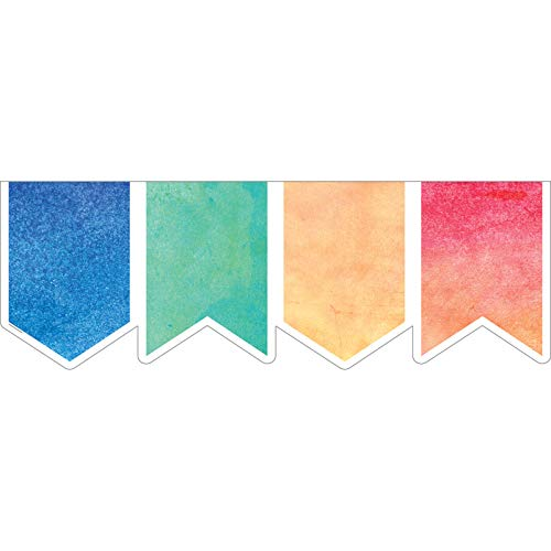 Teacher Created Resources Watercolor Pennants Big Big Border (TCR8981)