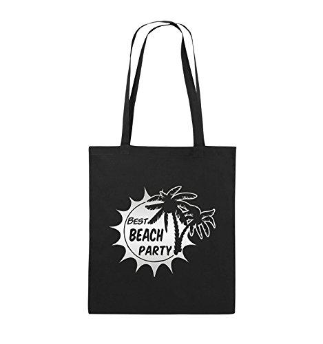 Comedy Bags Beach Party – Palmiers – Sac en toile de jute imprimé, sac en coton, deux longues anses en 100% coton, 38 x 42 cm, sac en tissu pratique et stable, Toile, noir/argent