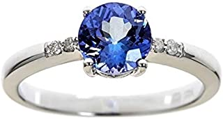 Gin & Grace 925 Sterling Silver Genuine Tanzanite & Natural Diamond I1 Petite Band Style Ring for Women Jewelry Gifts
