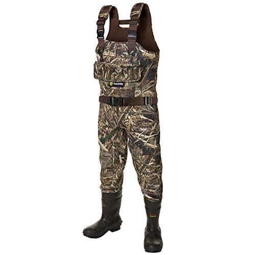 TideWe Hunting Wader, 5mm Neoprene Chest Waders with 1200 Gram Insulation Rubber Boots, Waterproof and Durable Seam Sealed Bootfoot Chest Wader for Fishing and Hunting (Realtree Max 5 Size 7)