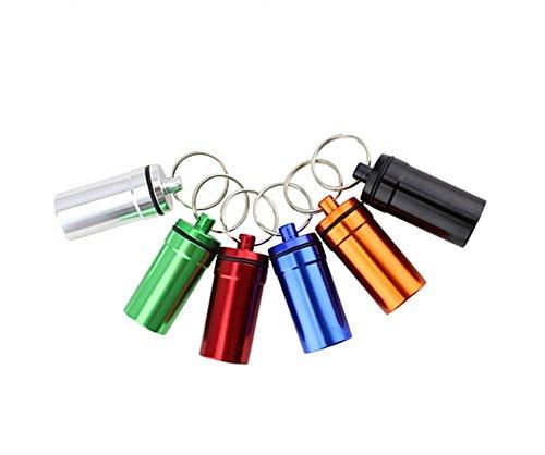 3PCS 20mm X 51mm Assort Color Pill Box Keyring-Waterproof Aluminium Travel Pill Holder Keychain Portable Mini Pill Box Case Bidet Container