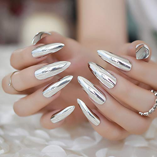 Extra Long Stiletto Mirror False Nails Silver Beautiful Shape Designer Press On Nails Colored Artificial Nail Tips 24 Ct