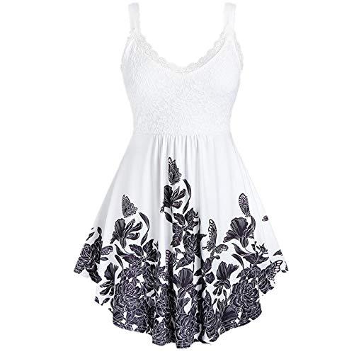 Sommerkleid Damen Stickerei Kleider Sexy Minikleid Schmetterling Muster Camisole Kurz Spaghettiträger Kleid Sommer A-Linie Camikleid Freizeitkleider (Weiß,M)