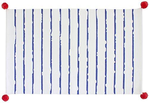 Gelco Design 710664 Tapis de Bain, Coton, Blanc/Majorelle, 80 x 50 x 0,25cm