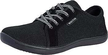 WHITIN Men s Knit Barefoot Sneakers Wide fit Arch Support Zero Drop Sole Size 12 Minimus Casual Minimalist Tennis Shoes Fashion Walking Flat Lightweight Skateboarding Male All Black 45